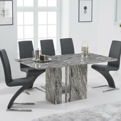 Alice 7 Piece 1.8m Grey Marble Dining Table Set (Hereford Chairs) • 1,732.50£
