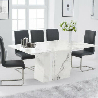 Alice 7 Piece 1.8m White Marble Dining Table Set (Malibu Chairs) • 1,485.75£