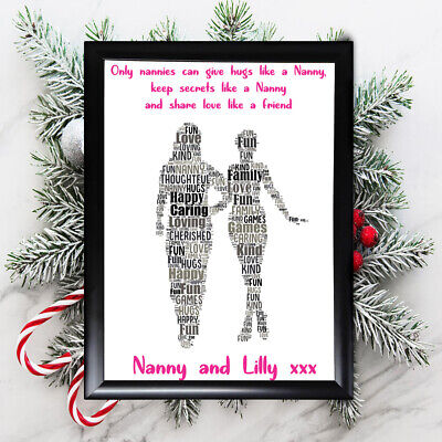 Personalised Grandaughter Gifts Nanny Nan Grandmother Her Framed  Card Christmas • 11.39£