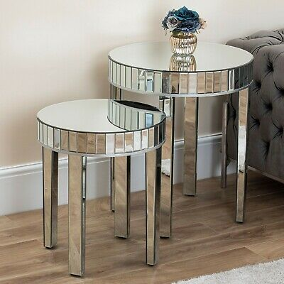 Large Mirrored Round Nest Of Tables Mirror Legs Side Table Living Room Hallway • 214.99£