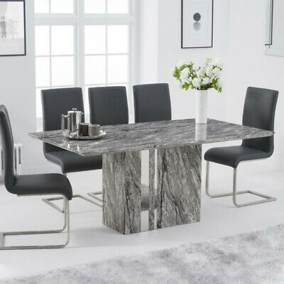 Alice 7 Piece 1.8m Grey Marble Dining Table Set (Malibu Chairs) • 1,485.75£