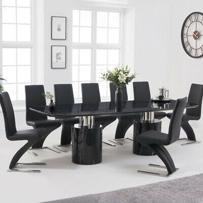 Adeline 9 Piece 2.6m Black Marble Dining Table Set (Hereford Chairs) • 3,318£