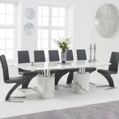 Adeline 9 Piece 2.6m White Marble Dining Table Set (Hereford Chairs) • 3,318£