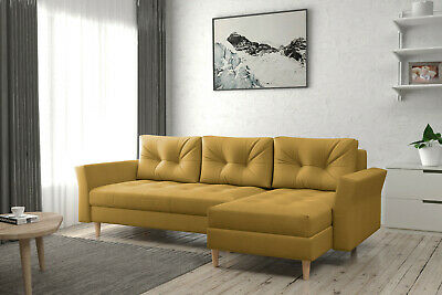 £528 • Buy Corner Sofa Bed With Storage Sprung Seat Scandinavian Many Colours FREE Assembly