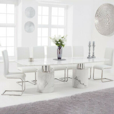 Adeline 9 Piece 2.6m White Marble Dining Table Set (Malibu Chairs) • 3,318£