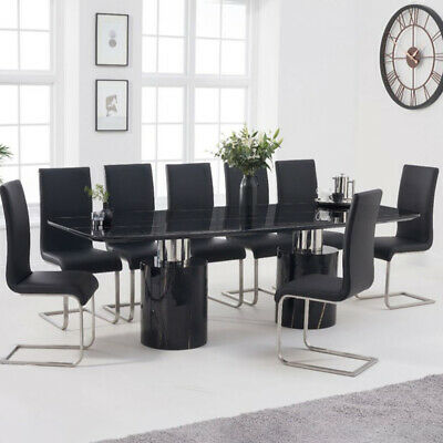 Adeline 9 Piece 2.6m Black Marble Dining Table Set (Malibu Chairs) • 3,318£
