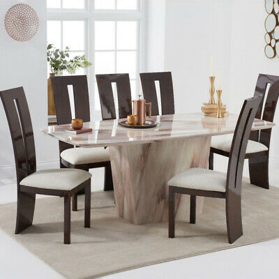 Fariah 7 Piece 2m Brown Marble Dining Table Set (Valencie Chairs) • 2,098.95£