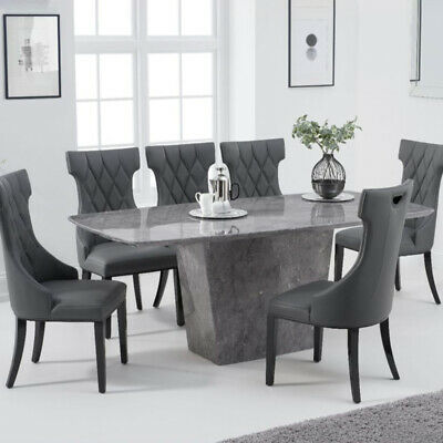 Fariah 7 Piece 2m Grey Marble Dining Table Set (Fredo Chairs) • 2,098.95£