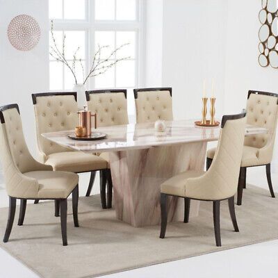 Fariah 7 Piece 2m Brown Marble Dining Table Set (Aviva Chairs) • 2,098.95£