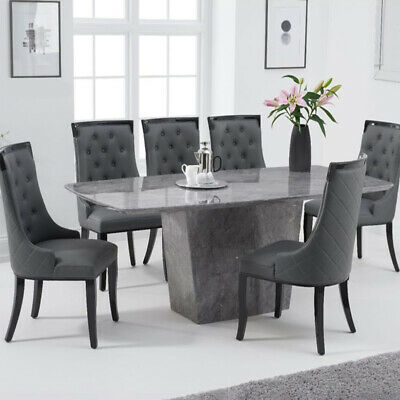 Fariah 7 Piece 2m Grey Marble Dining Table Set (Aviva Chairs) • 2,098.95£