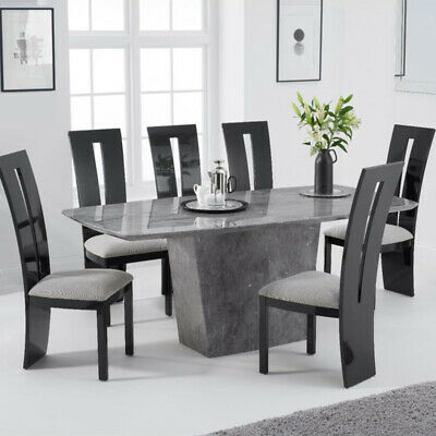Fariah 7 Piece 2m Grey Marble Dining Table Set (Valencie Chairs) • 2,098.95£