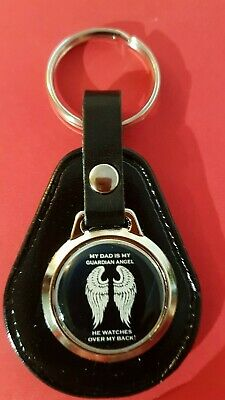 £4.89 • Buy My Dad Is My Gaurdian Angel , He Watches My Back ! Gift QUALITY LEATHER KEYRING