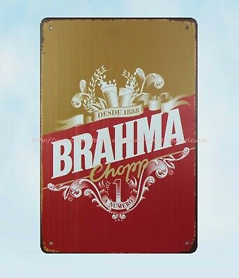 Wall Art Deco Desed 1888 Brahma Chorr Brazilian Beer Metal Tin Sign • 11.33£