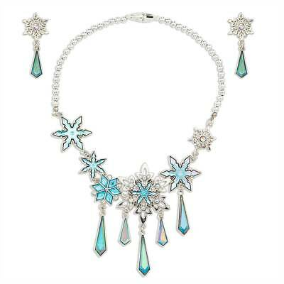 NWT Disney Store Frozen Elsa Girl Necklace And Earrings SET Costume Jewelry • 19.97$
