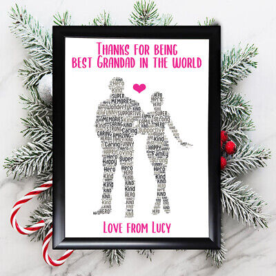 Personalised Grandaughter Gifts Grandad Grandfather Him Framed Card Christmas • 7.49£