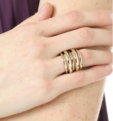 $79 • Buy Alexis Bittar Liquid Layered Ring Yellow Gold Sz 6 3/4 New Multiple Bands In-one