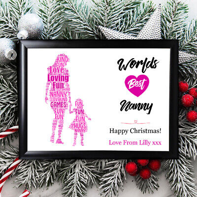 Personalised Nan Gifts Nanny Grandmother Christmas Framed Her  Card Grandaughter • 6.29£