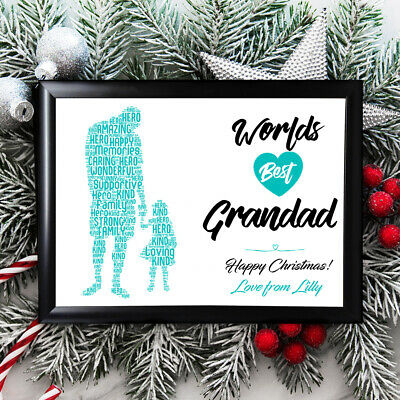 Personalised Grandad Gifts Grandfather Christmas Him  Framed Best  Grandaughter • 4.99£