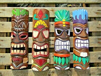 £18.95 • Buy Tiki Mask Bar Wall Art Wooden Fair Trade Hand Carved Made Hanging Large Plaque