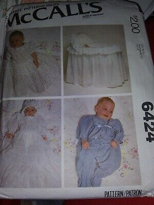 1978 McCall's Pattern 6424 Baby Christening Gown Bubble Suit Bassinet Cover • 7.50$