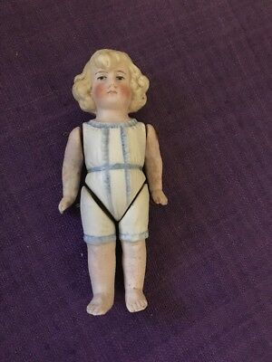$ CDN125.52 • Buy Vintage Bisque Porcelain Doll Moveable Arms And Legs Molded Hair And Doll Cloths