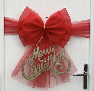 Christmas Door Bow Xmas HALF Baby Wedding Red Gold Purple Silver Green Tree • 9.99£