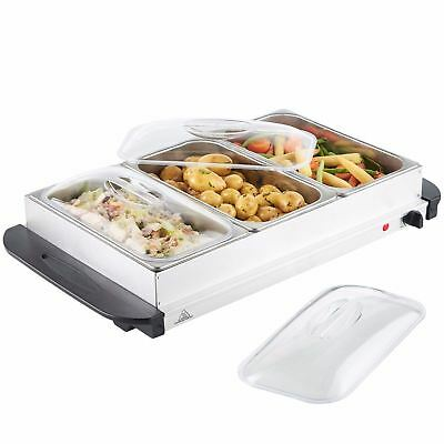£39.99 • Buy New 3 Pan Food Warmer Buffet Server Hot Plate 3 Tray Adjustable Temperature 300W