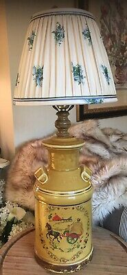 $150 • Buy Farmhouse Country Porcelain Lamp With Shade Milk Jug Can Vintage Bird Finial