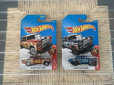 Hot Wheels '55 Chevy Bel Air Gasser Blue And Red (Lot Of 2) • 5.35$