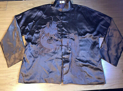 Mens Brown Chinese Long Sleeves Top Shirt With Dragon Size L • 13.99£