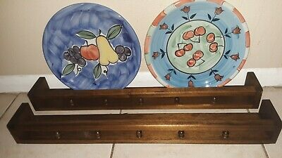 $74.99 • Buy 2-24  Retro Wooden Hanging Plate Groove Shelf Wall Display Spindle Guard Rail
