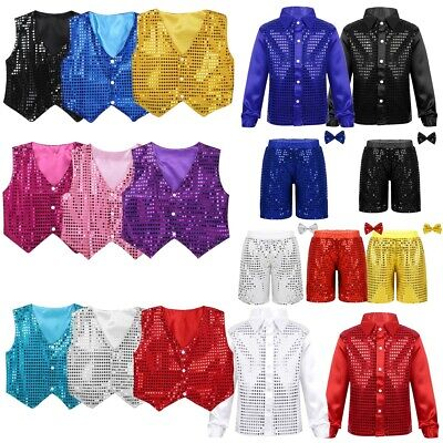 Kids Boys Glittery Sequined Vest Waistcoat Costume Choir Jazz Dance Stage Outfit • 7.59£