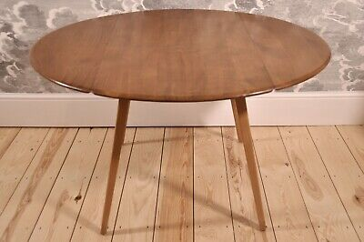 Vintage Retro 60's Ercol Ercol Oval Circular Drop Leaf / Extending Plank Table • 500£