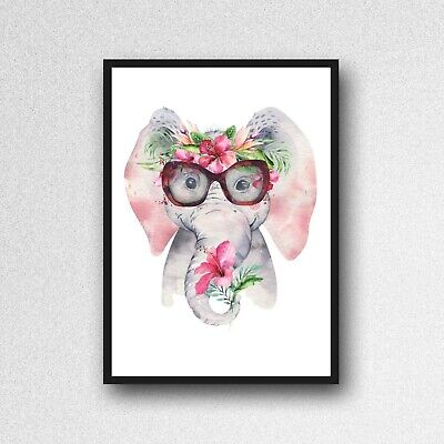 ELEPHANT Print PICTURE Flower Garland WALL ART A4 NURSERY  Unframed 22 Pink • 3.99£