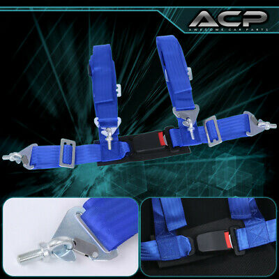 $ CDN35.31 • Buy 1X 4 Point Blue Nylon Racing Harness Safety Seat Belt 2  Buckle Strap Universal