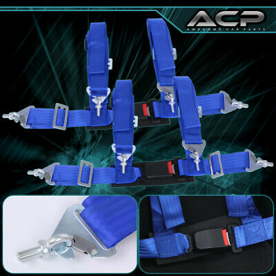 $ CDN62.48 • Buy 2X 4 Point Blue Nylon Racing Harness Safety Seat Belt 2  Buckle Strap Universal