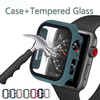 $ CDN4.76 • Buy Tempered Glass For Apple Watch Series 5 4 3 2 1 Bumper Hard Case Cover 44mm 40mm