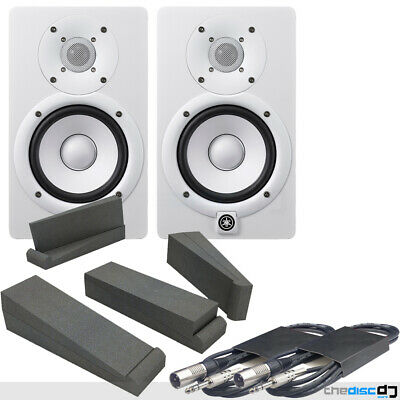 Yamaha HS5 White Active Studio Monitors (Pair) + Isolation Pads & Leads • 329£