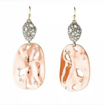 $98 • Buy Alexis Bittar Rocky Disk Drop Earrings Crystal Encrusted Pod Rose Gold Textured