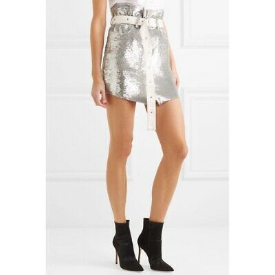 $ CDN92.61 • Buy IRO Natou Belted Silver Mini Sequin Skirt Size 42 FR/ 10 US MSRP $530