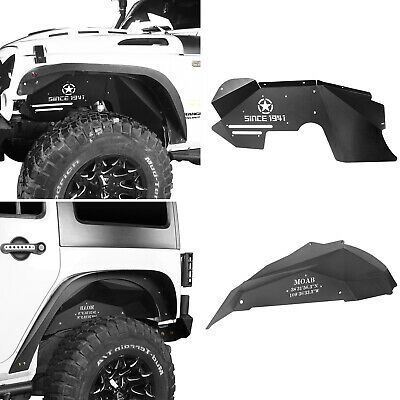 AU344.99 • Buy Hooke Road Front+Rear Inner Liner Fenders Flares Fit Wrangler Jeep JK 2007-2018