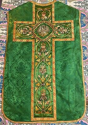 £200 • Buy Antique French Silk Hand Embroidery Christian Vestment Chasuble