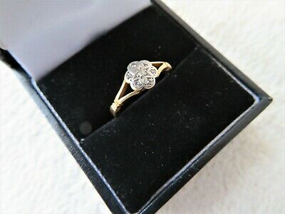 ANTIQUE 18CT YELLOW GOLD 7 STONE DIAMOND RING SIZE L 3/4 2.21gs • 165£