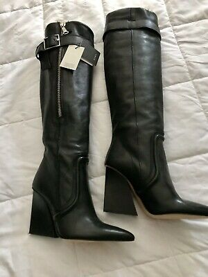 Zara Boots Knee Black Leather Nordstroms NWT Size 7.5 • 75$