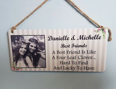 Personalised Friendship Plaque - Best Friends Hanging Metal Sign Gift Friend  • 4.99£