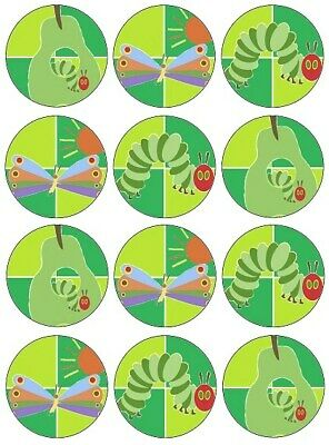 24 The Very Hungry Caterpillar Fairy Cake Toppers Edible Party Decorations • 1.99£