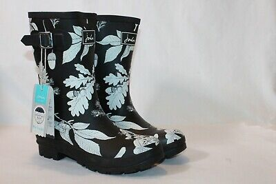 Joules Mid Rain Boot Molly Welly Black Botanical 9 M • 52.70$