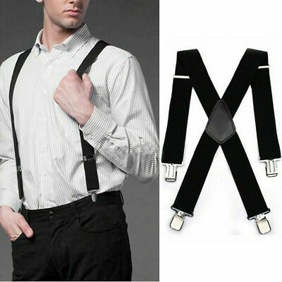 $7.98 • Buy Mens Heavy Duty Suspenders Adjustable Clip On Work Braces 50mm Wide Black USPS