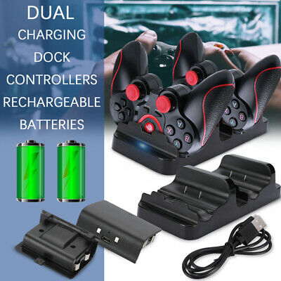 For XBOX ONE Dual Charging Dock Station Controller Charger+2 Extra Battery Packs • 12.59$