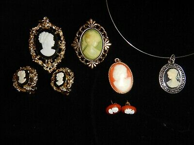 Dealers Lot 8 Vintage Cameo Jewelry Pendant Broach Earring Peri Sarah Coventry • 14.50$